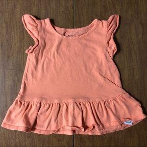 EUC Baby Gap Sz 12-18M Orange Tee Shirt w/ ruffles